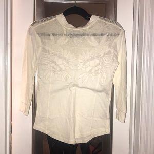 NWT Free People 3/4 sleeve cream shirt